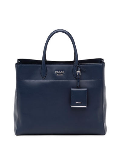 City Calfskin Tote Bag with Studded Strap, Dark Blue (Baltico)