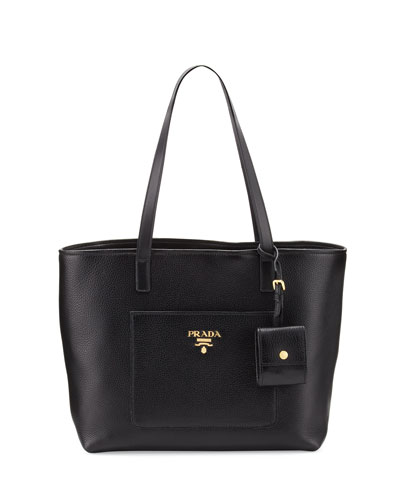 Medium Vitello Daino Open Tote Bag, Black (Nero)