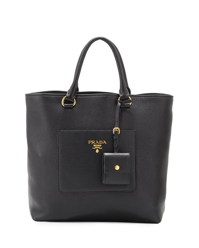 Medium Vitello Diano North-South Tote Bag, Black (Nero)