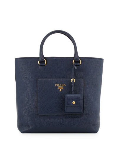 Medium Vitello Diano North-South Tote Bag, Dark Blue (Baltico)