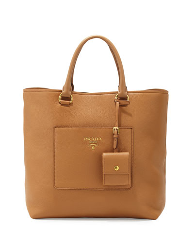 Medium Vitello Diano North-South Tote Bag, Caramel (Caramel)