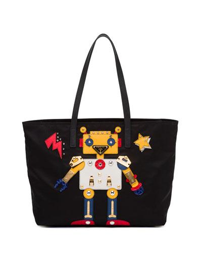 Medium Nylon Robot Tote Bag, Black/Multi (Nero/Multi)
