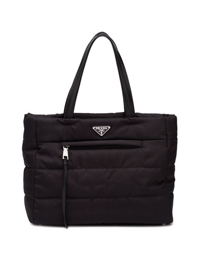 Tesutto Bomber North-South Tote Bag, Black (Nero)