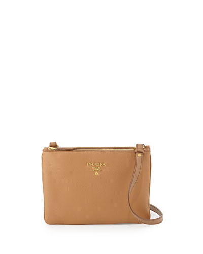 Vitello Diano Double-Zip Crossbody Bag, Caramel (Caramel)