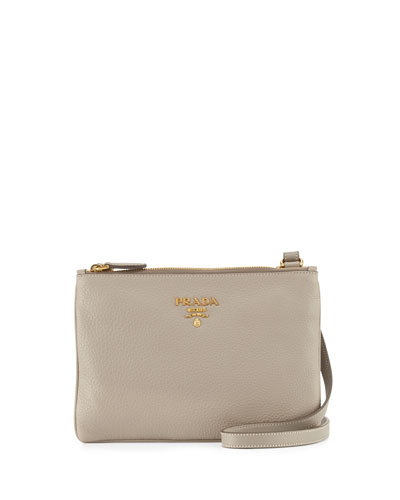 Vitello Daino Double-Zip Crossbody Bag, Light Gray (Pomice)