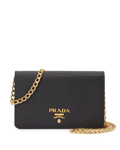 Saffiano Lux Crossbody Bag, Black (Nero)
