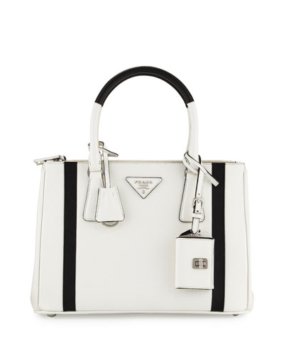 Bicolor Saffiano Lux Tote Bag, White/Black (Bianco/Nero)