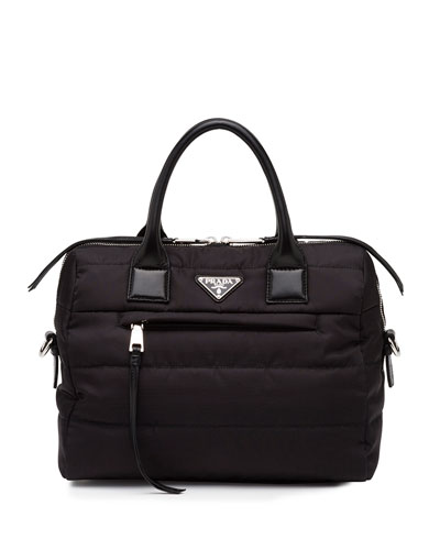Tesutto Bomber Satchel Bag with Strap, Black (Nero)