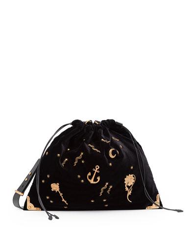 Large Astrology-Embellished Drawstring Hobo Bag, Black (Nero)