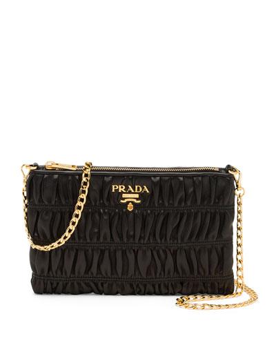 Napa Gaufre Chain Shoulder Bag, Black (Nero)