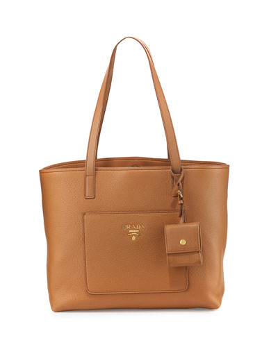 Medium Vitello Diano Open Tote Bag, Caramel (Caramel)