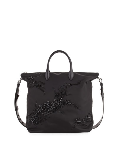 Large Nylon Beaded Tote Bag, Black (Nero)