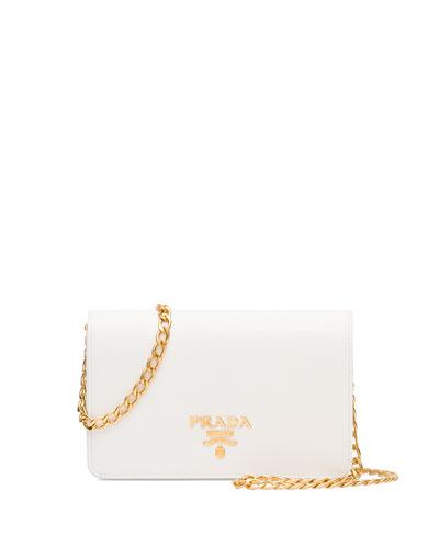 Saffiano Lux Crossbody Bag, White (Bianco)