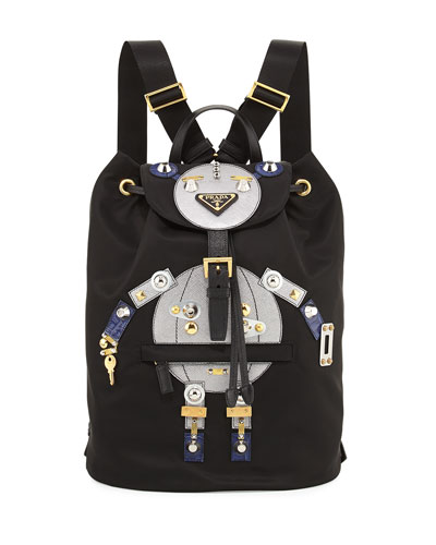Nylon Robot Backpack, Black/Multi (Nero/Cromo)