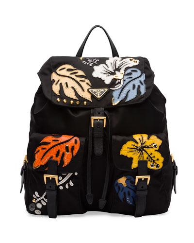 Hawaiian Double-Pocket Backpack, Black (Nero)