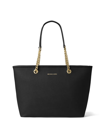 Jet Set Chain Saffiano Tote Bag, Black
