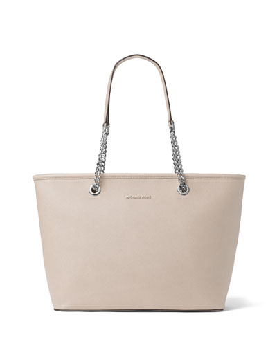 Jet Set Chain Saffiano Multifunction Tote Bag, Cement