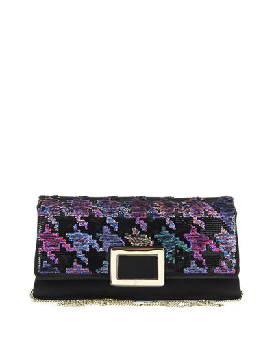 Ines Houndstooth Envelope Clutch Bag, Black/Multi