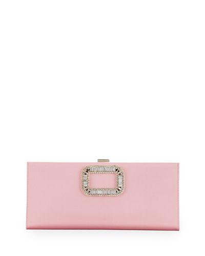 Pilgrim Crystal-Buckle Clutch Bag, Pink