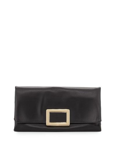 Ines Leather Small Pochette Bag, Black
