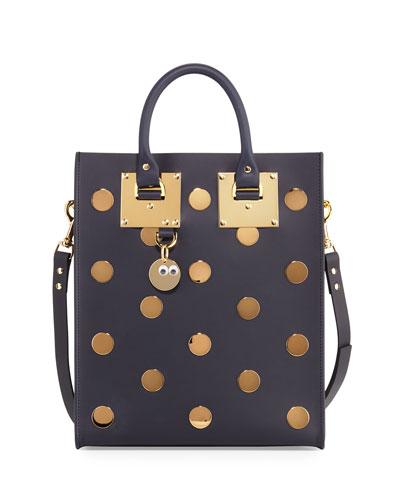 Albion Mini Polka-Dot Leather Tote Bag, Midnight Navy