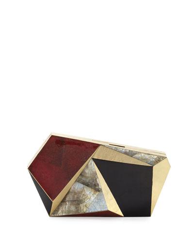 Azura Asymmetric Minaudiere, Red/Black/Gold