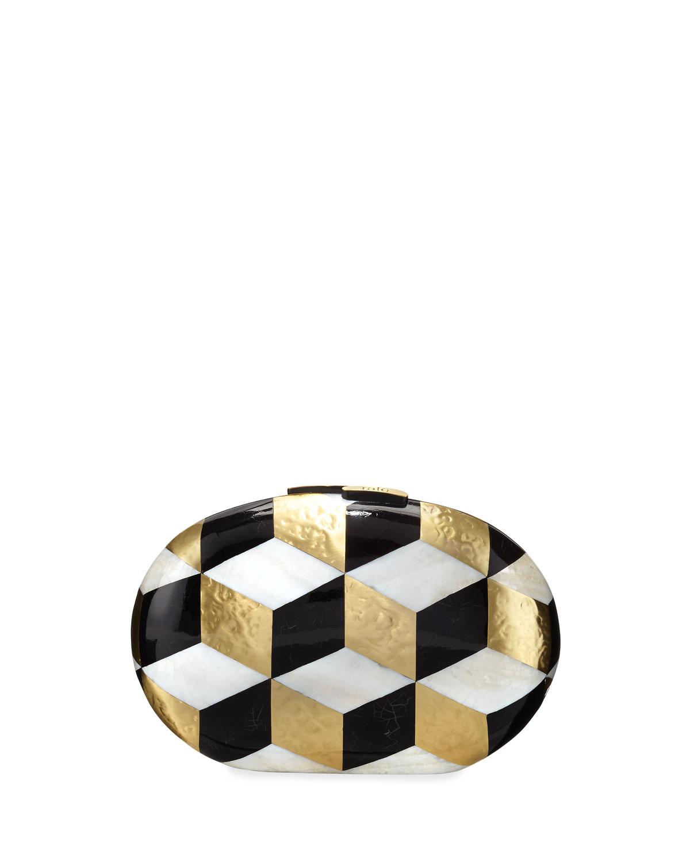 Liz Geometric Oval Minaudiere, Black/White/Gold