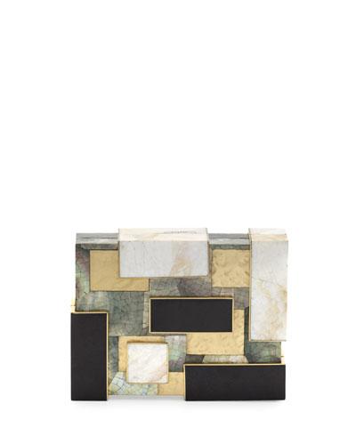 Rayma Cubist Minaudiere, Black/White/Gold