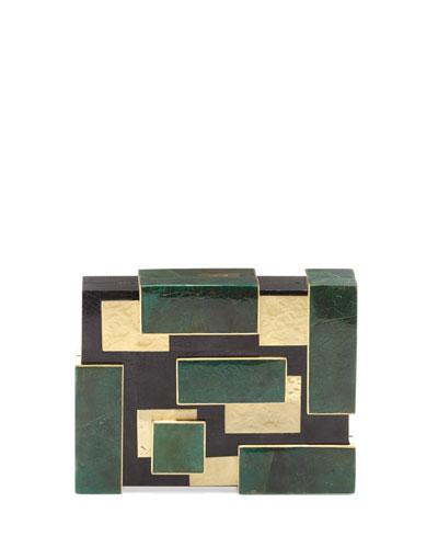 Rayma Cubist Minaudiere, Green/Black/Gold
