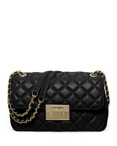 Sloan Large Quilted Leather Shoulder Bag, Black