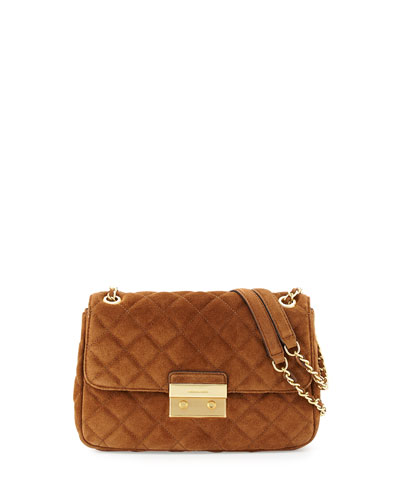 Sloan Large Quilted Suede Shoulder Bag, Dark Caramel