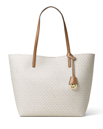 Hayley Large East-West Logo-Print Tote Bag, Vanilla/Acorn