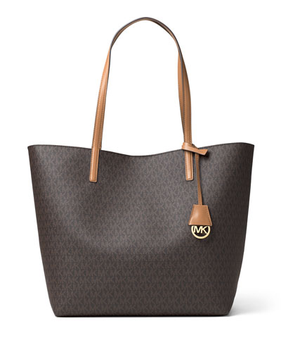 Hayley Large East-West Logo-Print Tote Bag, Brown/Peanut