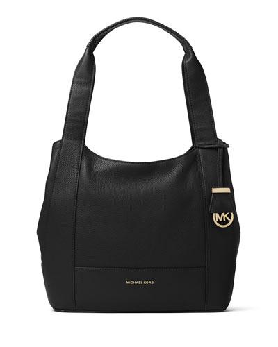 Marlon Medium Leather Shoulder Bag, Black