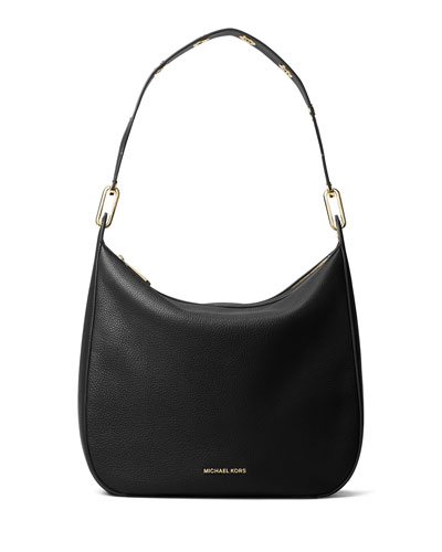 Raven Large Leather Shoulder Bag, Black