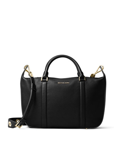 Raven Large Leather Satchel Bag, Black