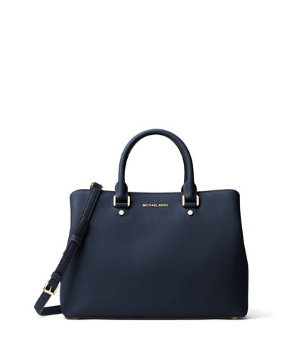Savannah Large Saffiano Satchel Bag, Admiral