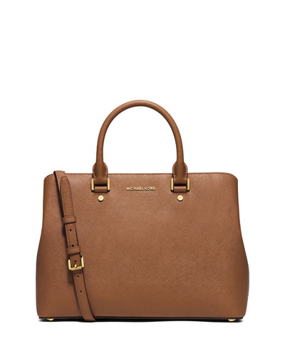 Savannah Large Saffiano Satchel Bag, Luggage