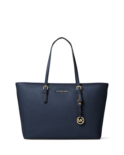 Jet Set Travel Medium Saffiano Tote Bag, Admiral