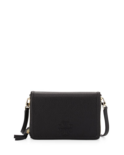 Thea Leather Wallet on Strap, Black