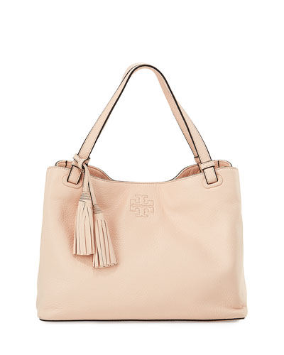 Thea Center-Zip Tote Bag w/ Tassels, Sweet Melon