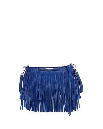 Finn Leather Fringe Crossbody Bag, Cobalt
