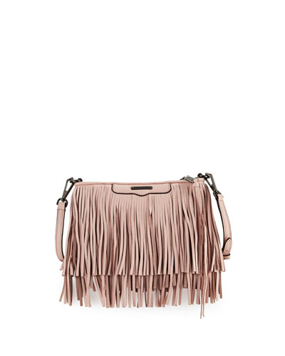 Finn Leather Fringe Crossbody Bag, Pale Rose