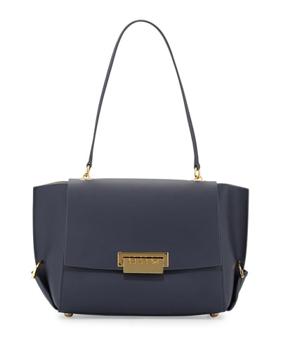Eartha Leather Shoulder Bag with Folded Gussets, Navy