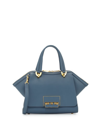 Eartha Zip-Top Satchel Bag, Denim