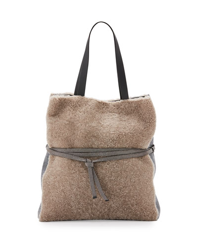 Large Monili-Belt Shearing Fur Tote Bag, Tan