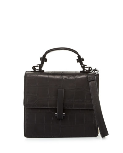 Minato Mini Crocodile-Embossed Top-Handle Bag, Black/Ivory