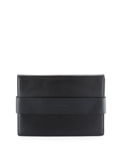 Azuba Colorblock Leather Clutch Bag, Black/Oxblood