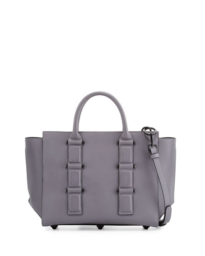 Katherine Leather Satchel Bag, Cement Gray