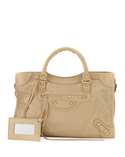 Classic City Golden Lambskin Tote Bag